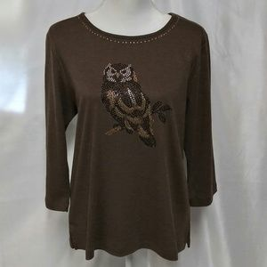 Woman's Alfred Dunner Beaded Owl Tunic Top